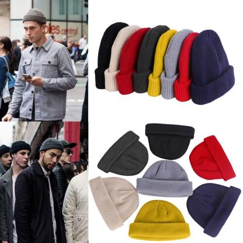 1pc Unisex Men Women   Beanie   Hat Warm Ribbed Winter Turn Ski Solid Fisherman Docker Cap Fashion   Skullies   Hat