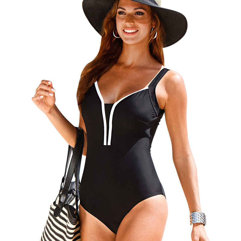 Plus Size Swimwear 2016 New Summer Beachwear Swim Suit Print Stripe Vintage One Piece Swimsuit Women Bathing Suits Black 4XL