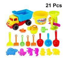21pcs Beach Toys Portable Plastic Watering Can Shovel Bucket Sand Play Set Beach Toys for Boys Children Girls(China)