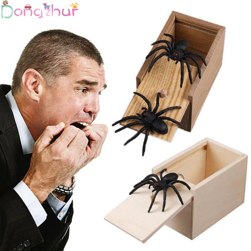 Prank Spider Wooden Scare Box Halloween Decorations Trick Or Treat Joke Scare Toys Gag Gift Novelty For Kids Adults