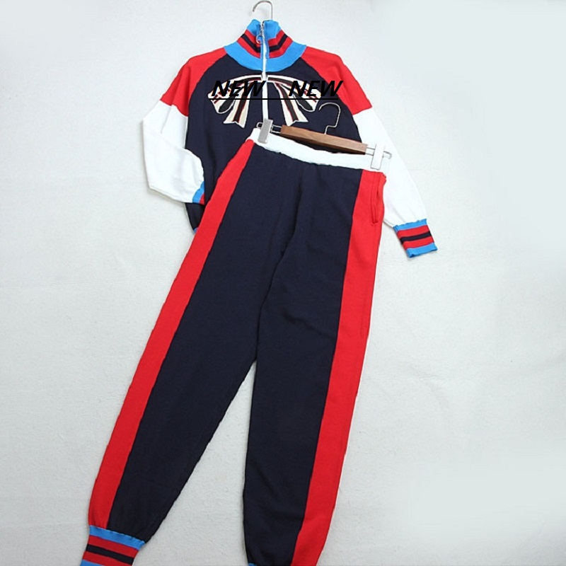 Piste Harajuku tricoté 2 pièce ensemble mode couleur bloc arc rayures veste à glissière Long Harem pantalon costume décontracté 2019 costume des femmes