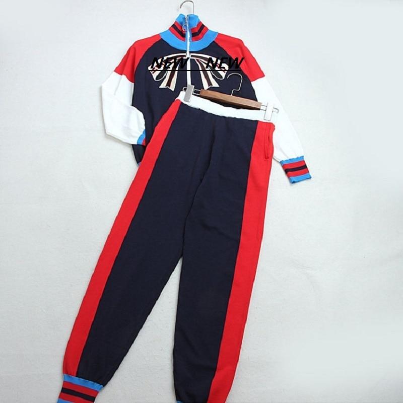 Runway Harajuku Knitted 2 Piece Set Fashion Color Block Bow Stripes Zipper Jacket Long Harem Pants Suit Casual 2019 Women's Suit