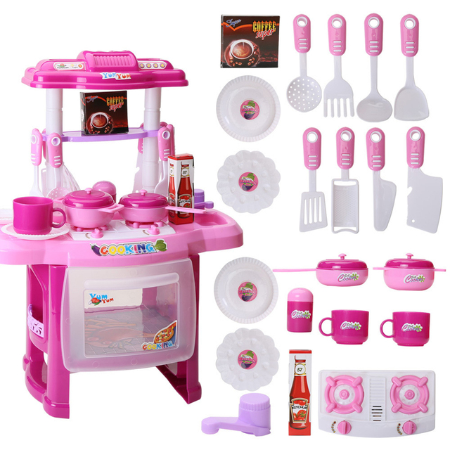 Baby Miniature Kitchen Plastic Pretend Play Food Children Toys With Music Light Kids Cooking Toy Set For Girls Game