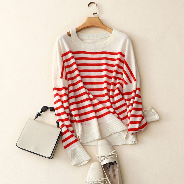 SHUCHAN New Autumn Women Pullover Sweater Cashmere 100 Fashion Striped Designer Casual Jumper Long Sleeve Female Striped Sweater
