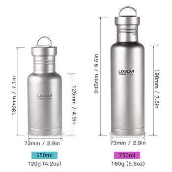 Lixada Outdoor Tableware 500ml/750ml Titanium Water Bottle with Extra Plastic Lid Ultralight Outdoor Camping Hiking Cycling