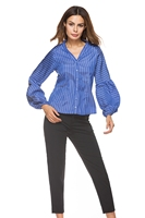 New Women Shirts Puff Sleeve Striped V Neck Heavy Pressure Fold Blouse Shirt Blue 8522
