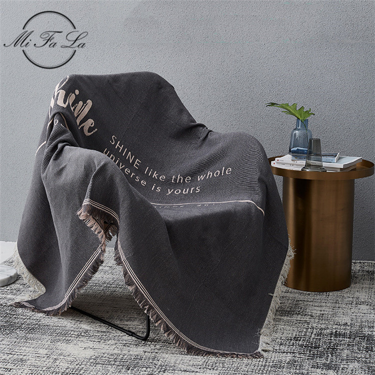 Letters Printed Sofa Bed Throw Blanket Knitted Nordic Style Chair Sofa Towel Cover Travel Plaids Bedding Tapestry Bedspread MS1