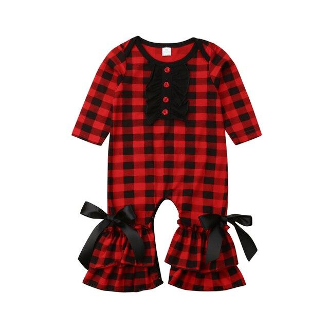 Bonito Menina Manga Longa Xadrez Vermelho Ruffles Bow Romper Do Bebê Recém-nascido Macacão Outfits Bebê Roupas Das Meninas