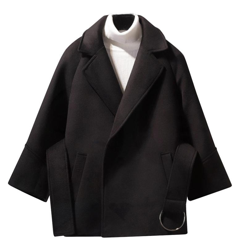 Autumn Winter 2019 Short Woolen Coat Women Korean Long Sleeve Loose Plus Size Cloak Jacket Casual Work Student Fashion Slim Coat Price $28.93