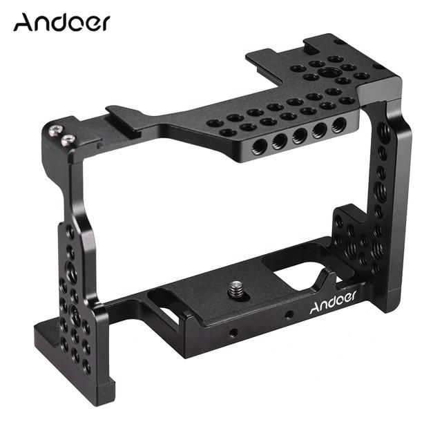 Andoer Camera Kooi Video Film Movie Maken Stabilisator 1/4 Inch Schroef met Koud Shoe Mount voor Sony A7II/A7III /A7SII/A7M3/Camera