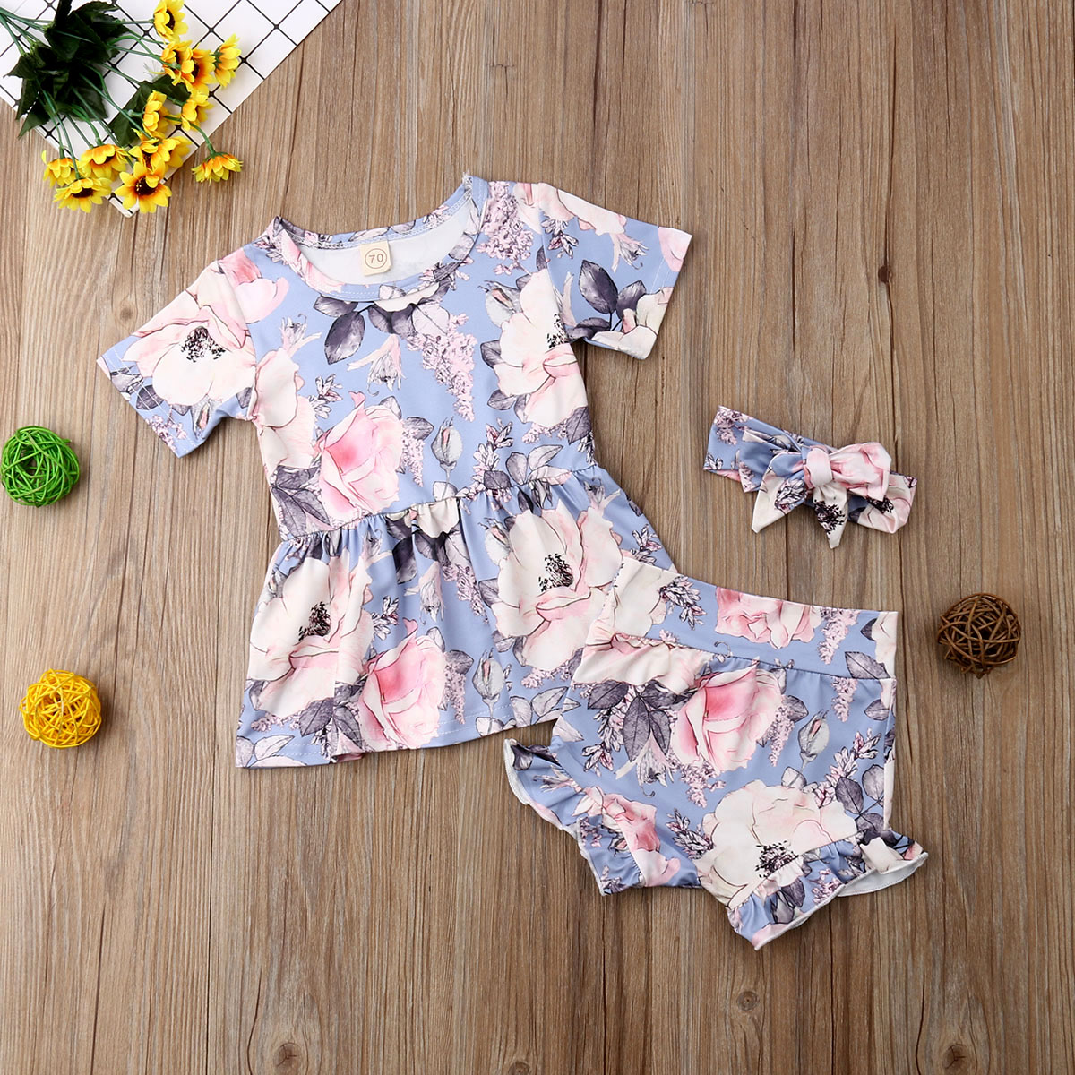 2pcs Toddler Kid Baby Girl Clothes Floral Ruffle T Shirt Tops Shorts Outfits Set