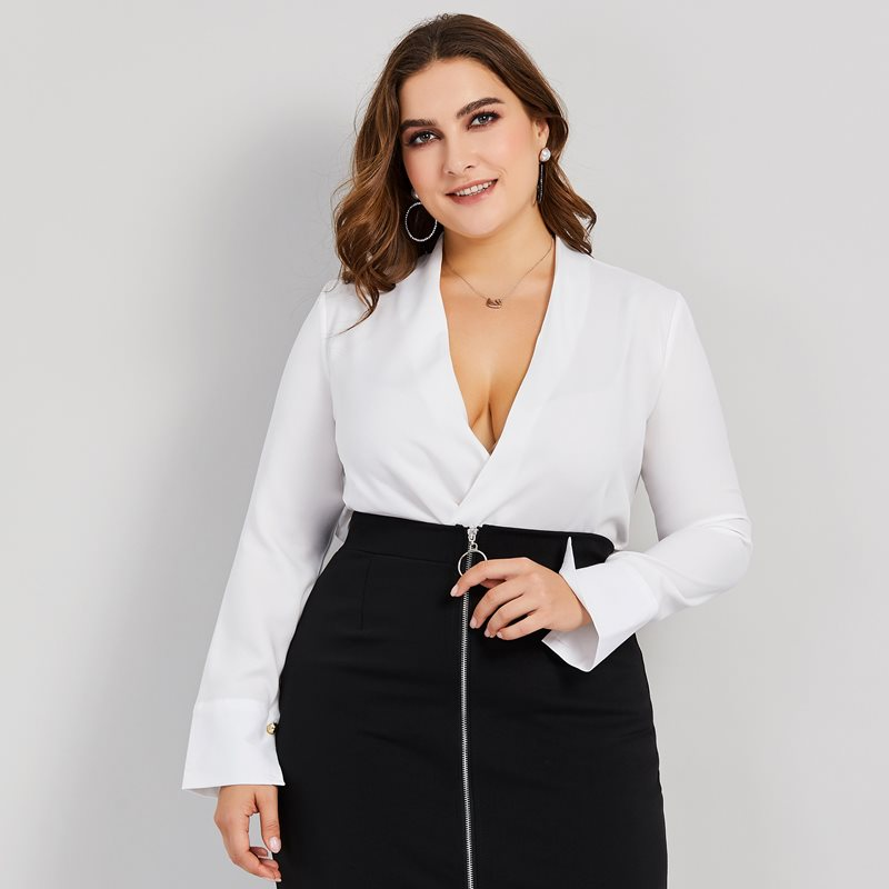 Women Blouses Casual White OL Sexy Travel Plus Size 4XL Loose Linen Plain Asymmetric Simple Fall Female Tops Fashion Shirts