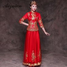 Bride Women Embroidery Cheongsam Dresses 2019 New Red Qipao Traditional Wedding Gown Chinese Oriental Vintage Dress Robe Qi Pao