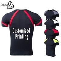 Lanmaocat Short Sleeve Workout Shirt Men Custom Print Compression Shirt Short Sleeve Running Dry Fitness Clothing Free Shipping
