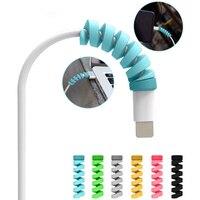 Impede a quebra espiral cabo cabo saver capa apple iphone 8 x protetor 6 cor sílica gel usb carregador macio