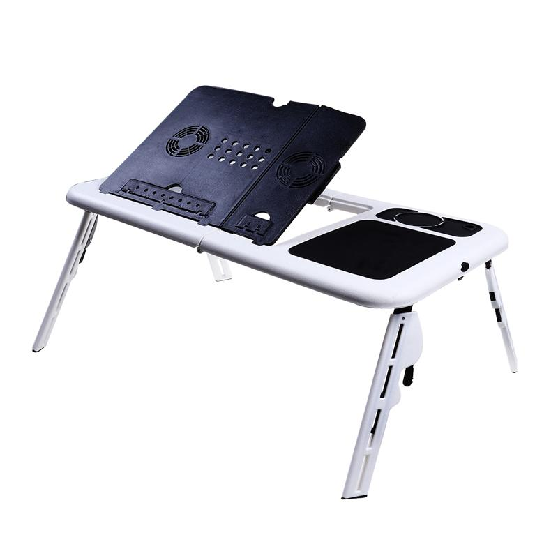 Foldable Laptop Table Tray Desk Tablet Desk Stand Bed Sofa Couch with Cooling Fan (Black+White) 1pc white multifunctional light foldable table dormitory bed notebook small desk picnic table laptop bed tray
