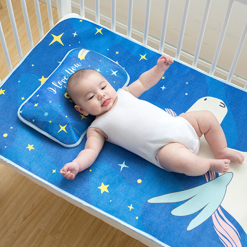 Baby Sleep Mat For Summer 3 Pcs Baby Pillow With Filling Baby Mattress Cover Cool Baby Crib Sheet Fitted Crib Size 120*60 cm