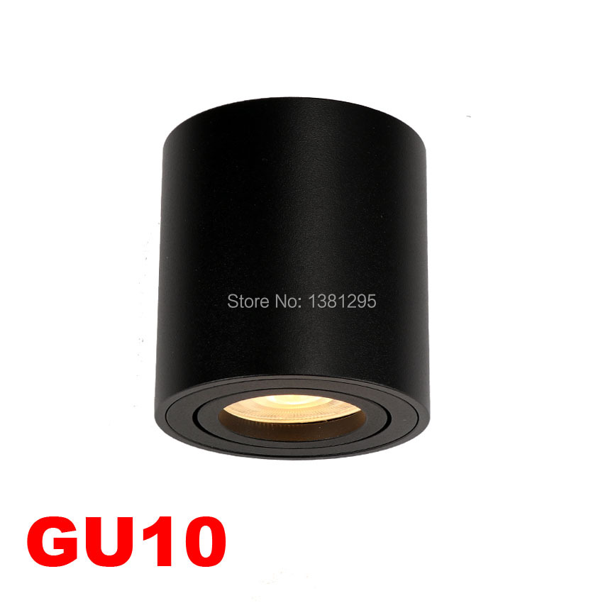 Adjustable LED Round Surface Mount Trimless Downlight GU10 Fixture Cylinder Ceiling Down Spot Light Bedroom Lamp GU 10 Fitting