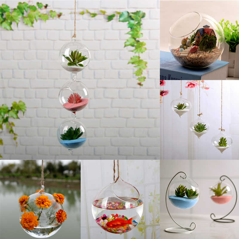 Transparent Clear Glass Flower Plant Stand Hanging Vase Planter Terrarium Container Home Garden Office Decor