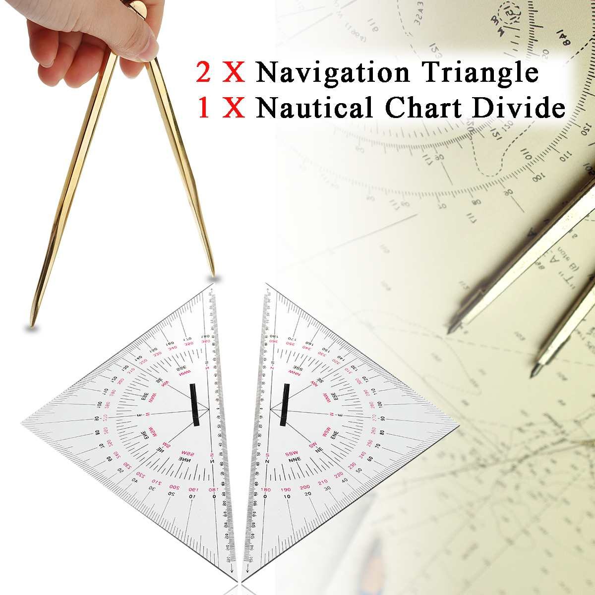 2Pcs 300mm Navigation Triangular Protractor + 1Pc 168mm Nautical Chart Divider Measurement Tools Suitable For Marine Navigation