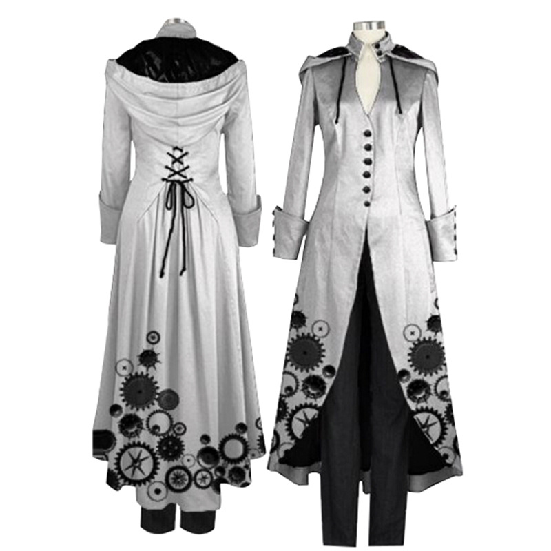 2018 New Ladies Coat Printing Fashion Steampunk Retro Ladies Uniform   Trench   Coat Gothic Long Coat Women Loose Plus Size