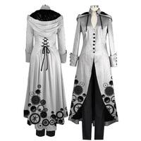 2018 New Ladies Coat Printing Fashion Steampunk Retro Ladies Uniform Trench Coat Gothic Long Coat Women Loose Plus Size