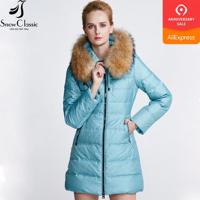 Snow Classic Новая зимняя дамская пуховая куртка с разнообразными цветами действительно теплой шляпой с молнией спереди застежка-молния холодная длинная скидка