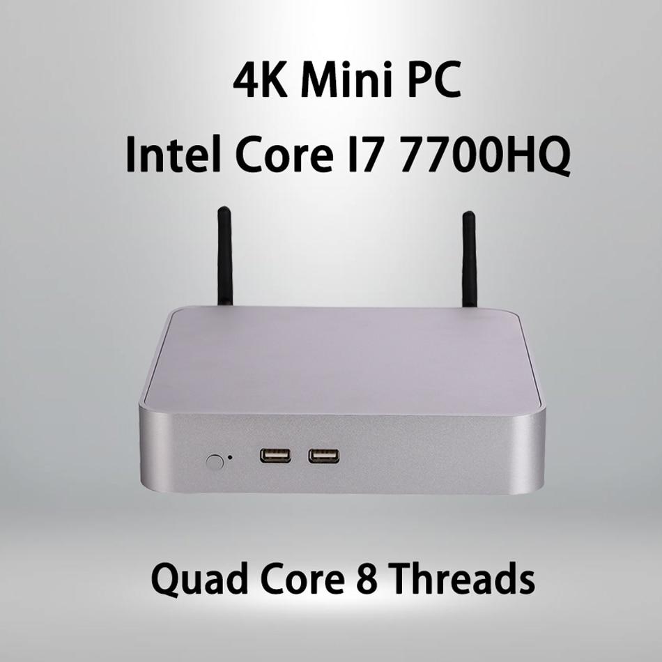 Fan Mini PC,Intel Core I7 7700HQ,Windows 10/Ubuntu,Silver,[HUNSN BA03L],(WiFi/1HD1.4//1DP1.2/1VGA/4USB3.0/2USB2.0/1LAN)