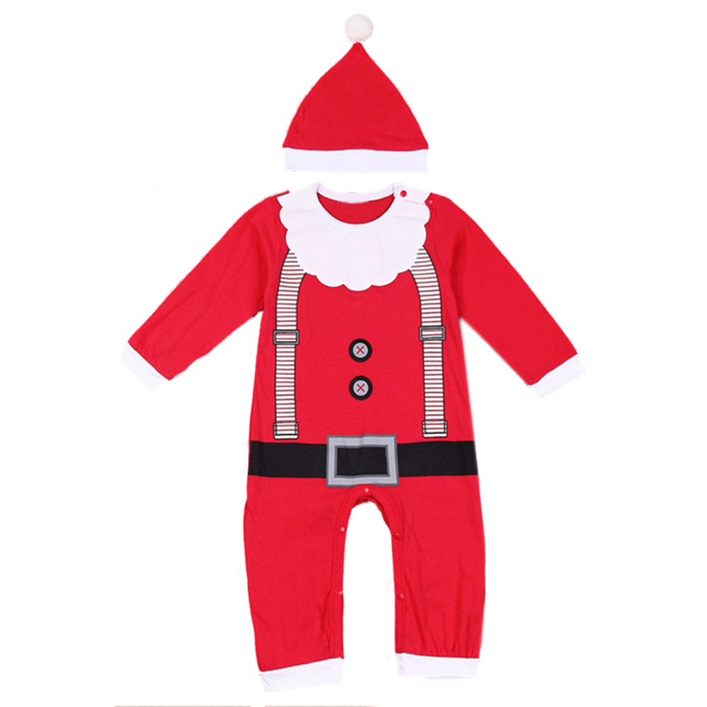 Baby Christmas Clothes Outfits Boy Girl Kids Romper Hat Cap Set Gift Red 80cm