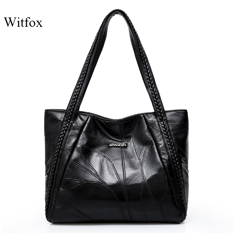 WITFOX 100% Genuine Leather Sheep Skin Women 's  Shoulder Bag Big Capacity Thread Pattern Shopping Packet For Ladies Tote