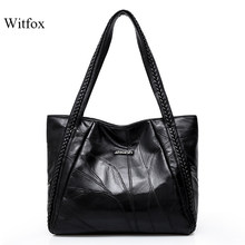 WITFOX 100% Genuine leather sheep skin women 's shoulder bag big capacity thread pattern shopping packet for ladies tote(China)