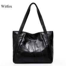 WITFOX Genuine leather sheep skin women s  shoulder bag big capacity thread pattern shopping packet for ladies tote