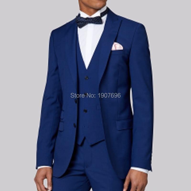 Królewski niebieski szyte na miarę Groom smokingi dla mężczyzn garnitury ślubne Prom Party kostiumy sceniczne 3 sztuka garnitury męskie zestaw kurtka spodnie kamizelka w Garnitury szyte na miarę od Odzież męska na  Grupa 2