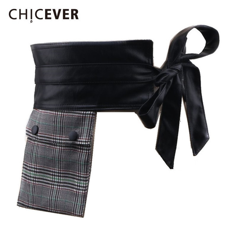 CHICEVER Plaid Women's Wide Belt Bow Bandage Hit Colors PU Leather Belts For Women Vintage Fashion Accessories 2020 New
