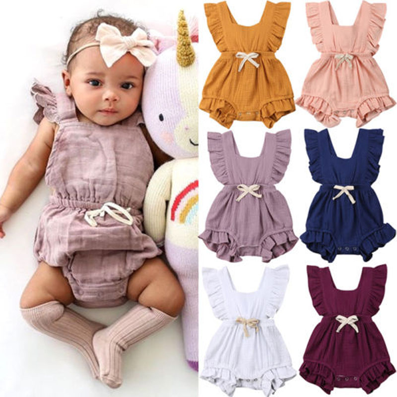 Focusnorm New Casual Newborn Baby Girl Ruffle Solid Color   Romper   Sleeveless Solid Jumpsuit Outfits Sunsuit