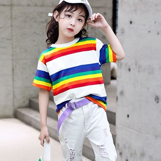 159eef353e Fashion 2019 Girls Colorful Striped TShirts For Kids Cotton Short Sleeve Tees  Tops Baby Big Girl Summer T Shirt Children Clothes