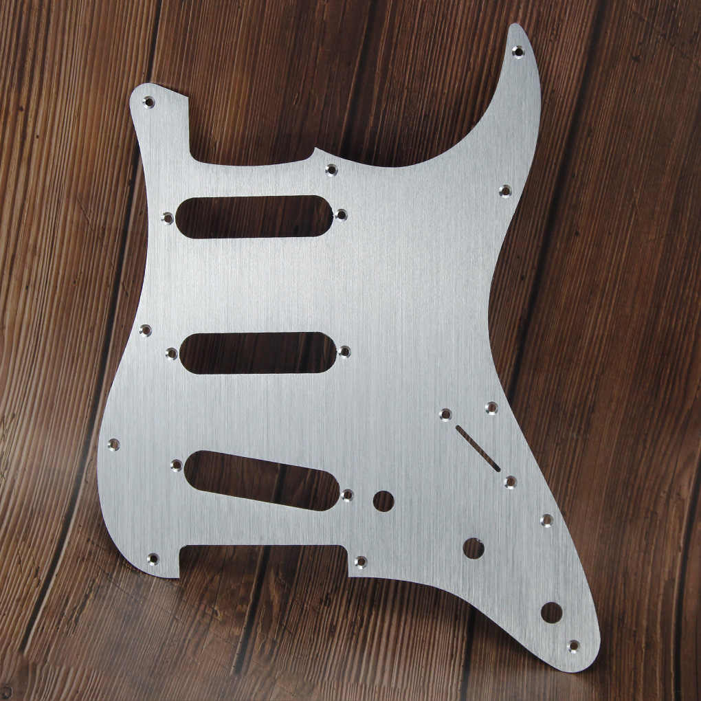 FLEOR Aluminum Metal Pickguard 11 Hole Electric Guitar Pickguard SSS Strat with Screws for Guitar Scratch Plate,Silver Color