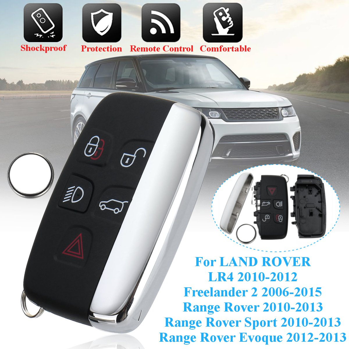 Cr2032 Battery 5 Button Remote Key Shell Case With Cr2032 Battery For Land Rover Lr4 Range Rover Sport Evoque Freelander 2 2006 2015