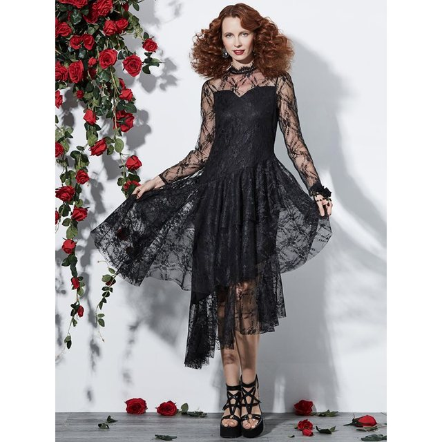 Women Sexy Lace Dress Black Evening Midi Dresses Gothic Ruffle Asymmetric Hem Mesh See Through Elegant Ladies Summer Party Dress