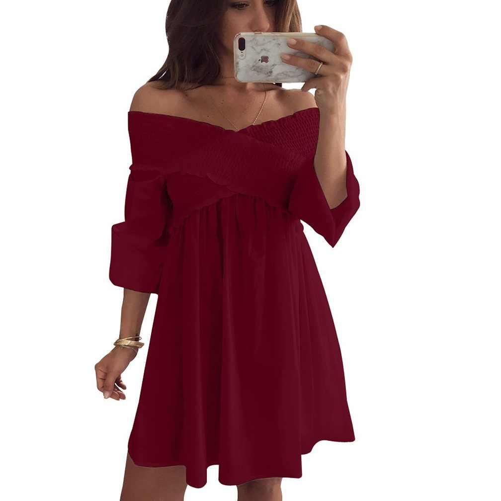 Nouveau 2019 décontracté épaule dénudée lâche blanc Cocktail partie courte Mini robe été S-XL