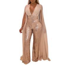 c8e6ff20b9d Black Gold Sequins Sexy Jumpsuit Romper Autumn Women Glitter V-Neck Evening Party  Jumpsuit Female