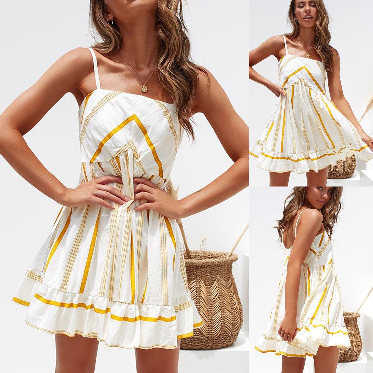 Skirts 2020 New brand Womens Sexy Spaghetti Strap striped Casual  Sleeveless Evening Party  Club Club Short Mini Skirts