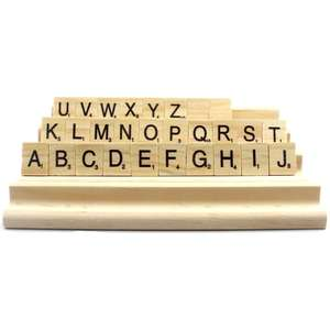 4Pcs Smooth Surface Scrabble Letter Stand Wood Kids Toy