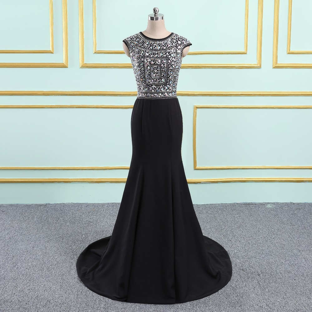 2019 New Arrival Long Prom Dresses Luxury Beaded Top Tank Sleeveless Crystals Satin Formal Evening Dress Party Gown Custom