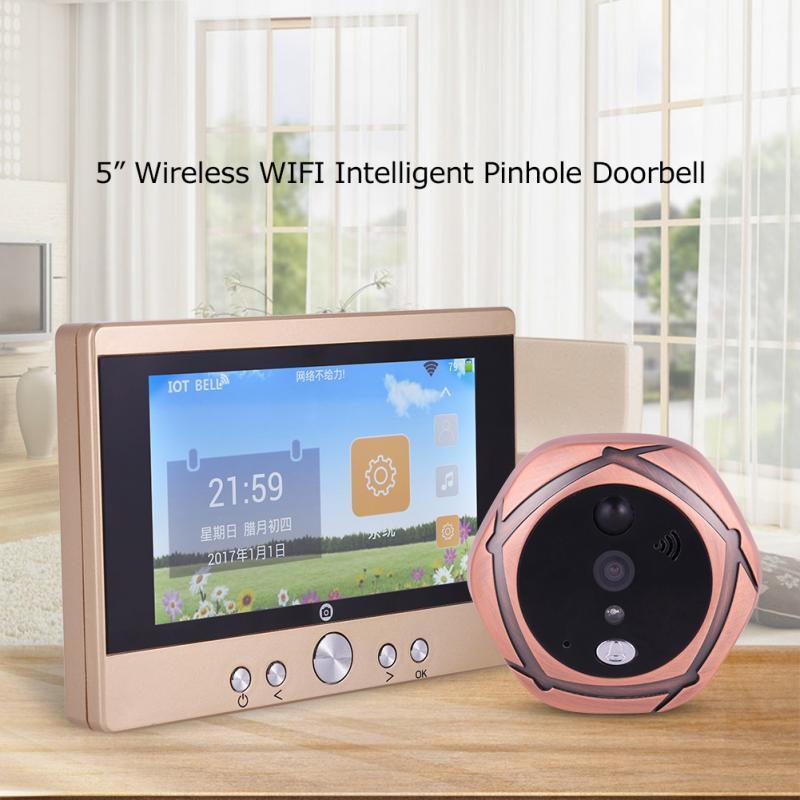 720 p WiFi Sans Fil Numérique Judas Porte Viewer 5 pouces LCD WiFi Numérique Judas Porte Téléphone Sonnette Interphone IR Nuit vision