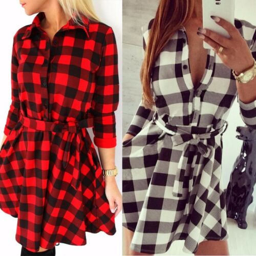 2019 Women Check Shirt Mini Dress Lady Cotton Long Sleeve Plaid Romper Party Dress Innrech Market.com