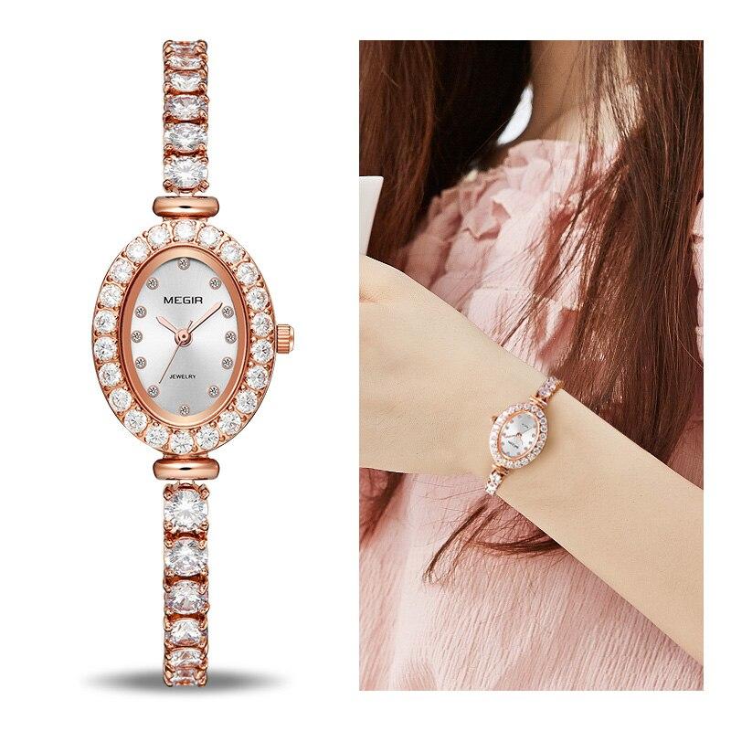 MEGIR Reloj Mujer 2018 Frauen Luxus Uhr Rose Diamant Frauen Armband Uhren Damen Stunde Montre Femme Luxe Damen Uhren Dropship