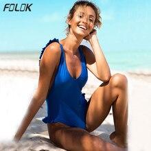 цена Solid Side Ruffle One Piece Swimsuit Women 2019 Swimwear Sexy Backless Monokini Push Up Bathing Suit High Cut Beachwear онлайн в 2017 году