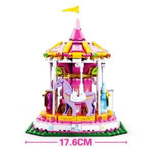 Image 5 - 놀이 공원 관람차 빌딩 블록 도시 친구 회전 목마 DIY 벽돌 아이들을위한 모델 놀이터 소녀 장난감 선물