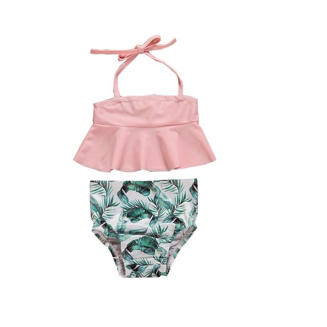 2019 Brand New Summer Infant Kids Baby Girls Tankini Bikini Set Swimwear Swimsuit Bathing Suit Banana Leaf Print Beachwear 1-6T